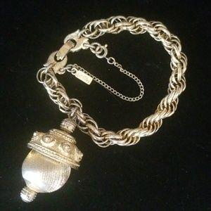Vintage MONET Gold Tone Bracelet With Charm